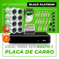 Kit Completo de Monitoramento CFTV com 8 Câmeras Open HD 4 Mega Giga Security Black Platinum