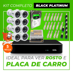 Kit Completo de Monitoramento CFTV com 8 Câmeras Open HD 5 Mega Giga Security Black Platinum