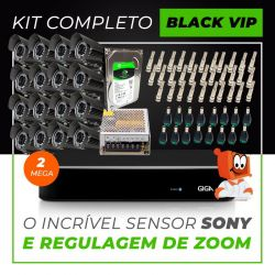 Kit Completo de Monitoramento com 16 Câmeras Varifocais Giga Security Black Vip