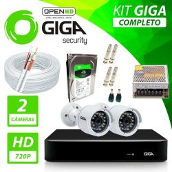 Kit Completo de Monitoramento com 2 Câmeras Open HD Giga Security