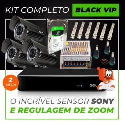 Kit Completo de Monitoramento com 3 Câmeras Varifocais Giga Security Black Vip