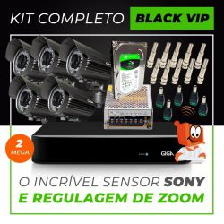 Kit Completo de Monitoramento com 5 Câmeras Varifocais Giga Security Black Vip