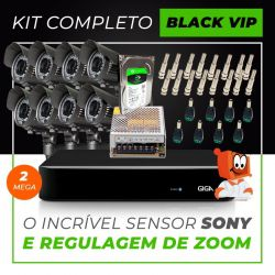 Kit Completo de Monitoramento com 8 Câmeras Varifocais Giga Security Black Vip