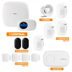 Kit de Alarme Intelbras 1-Central AMT 2018E c/ 8-Sensores com Monitoramento por Aplicativo via Internet Sem Fio