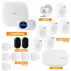 Kit de Alarme Intelbras 1 central AMT 2018E c/ 12 Sensores com Monitoramento Por Aplicativo via Internet Sem Fio