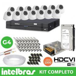 Kit de Câmeras Especial Homologado Intelbras completo Alta definição 16 Canais- 1 Megapixel 720p