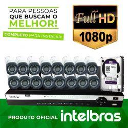 Kit de Câmeras Monitoramento Profissional Alta Definição Full HD Intelbras 16 canais MHDX 1080p - Completo