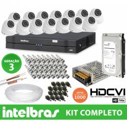 Kit Dome Intelbras completo Alta definição - 16 Câmeras - 1 Mega