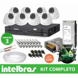 Kit Dome Intelbras completo Alta definição - 8 Câmeras - 1 Mega
