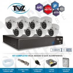 Kit Dome Super Flex Alta definição 8 Canais com 8 Câmeras Tecvoz Tvz completo