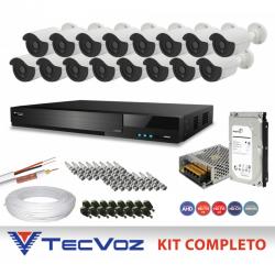 Kit de Vigilância HD Flex Tecvoz Gravador 16 Canais + tecnologia IP com Câmeras 5 Em 1 multitecnologia completo