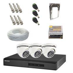 Kit Hikvision Completo em Alta Definição - 3 Câmeras Internas HD