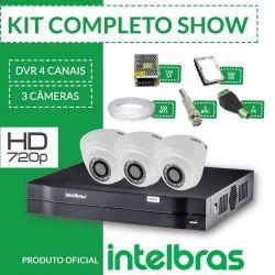 Kit Intelbras Completo Alta Definição - 3 Câmeras Internas - HD
