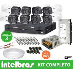 Kit Top Intelbras Completo com 8 Câmeras Bullet Externas em Alta Definição HD 1MP