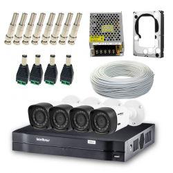 Kit Intelbras completo alta definição - DVR 8 canais c/ 4 câmeras - HD