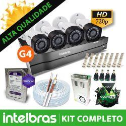Kit Mega CFTV Intelbras 4 Canais com 4 Câmeras Bullet de Metal 1.0MP 720p