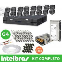 Kit Oficial Intelbras Completo Alta Definição 16 Câmeras 1 Megapixel 720p