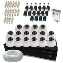 Kit Super Light 16 câmeras Dome, DVR 16 canais, cabo, fonte e conectores