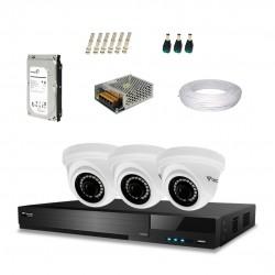 Kit Tecvoz Completo em Alta Definição - 3 câmeras interna HD