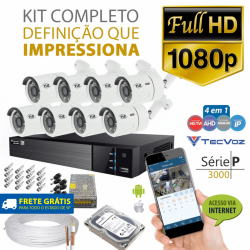 Kit tvz tecvoz 8 câmeras full hd - serie p3008