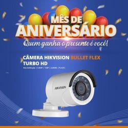 Mês de Aniversário - Câmera Hikvision Bullet Flex Turbo HD (1.0MP | 720p | 2.8mm | Plast)