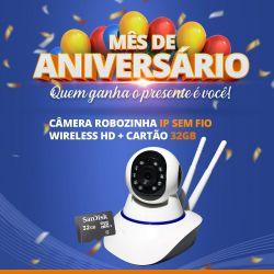 Mês de Aniversário - Câmera Robozinha IP Sem Fio Wireless HD Com Cartão de Memória 32GB