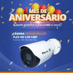 Mês de Aniversário - Câmera Tecvoz Bullet Flex HD CCB-128P Alta Definição (1.0MP | 720p | 2.8mm | Plast)