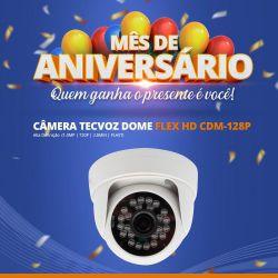 Mês de Aniversário - Câmera Tecvoz Dome Flex HD CDM-128P Alta Definição (1.0MP | 720p | 2.8mm | Plast)