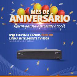 Mês de Aniversário - DVR Tecvoz 08 Canais Flex HD Linha Inteligente TV-E508