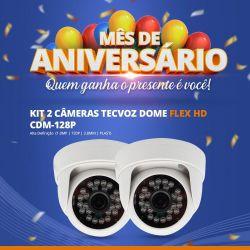 Mês de Aniversário - Kit com 2 Unidades Câmera Tecvoz Dome Flex HD CDM-128P (1.0MP | 720p | 2.8mm | Plast)