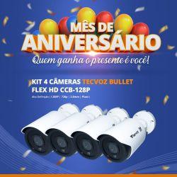 Mês de Aniversário - Kit com 4 Unidades Câmera Tecvoz Bullet Flex HD CCB-128P (1.0MP | 720p | 2.8mm | Plast)