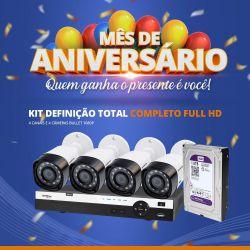 Mês de Aniversário - Kit Definição Total Intelbras Completo Full HD com 4 Canais e 4 Câmeras Bullet 1080p
