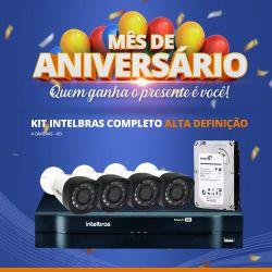 Mês de Aniversário - Kit Intelbras Completo Alta definição - 4 Câmeras - HD