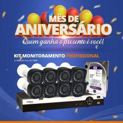 Mês de Aniversário - Kit Monitoramento Profissional Completo Intelbras Alta Denifição Full HD 8 Canais de Vídeo com 8 Câmeras Full HD 1080p