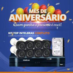 Mês de Aniversário - Kit Top Intelbras Completo com 8 Câmeras Bullet Externas em Alta Definição HD 1MP