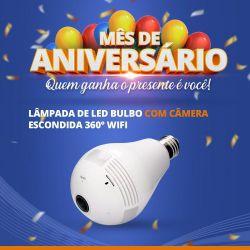Mês de Aniversário - Lâmpada de Led Bulbo com Câmera Escondida 360° Wifi