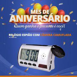 Mês de Aniversário - Relógio espião com câmera camuflada - MicroSD 8gb