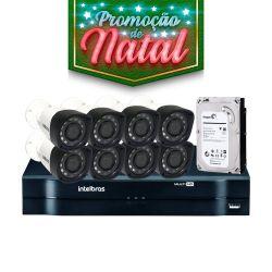NATAL CFTV CLUBE - Kit Top Intelbras Completo com 8 Câmeras Bullet Externas em Alta Definição HD 1MP