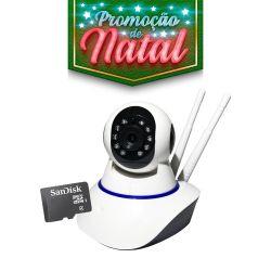 NATAL CFTV CLUBE - Câmera Robozinha IP Sem Fio Wireless HD Com Cartão de Memória 16GB