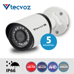 NATAL CFTV CLUBE - Câmera Tecvoz Bullet Flex HD QCB-536 Hyper HD (5.0MP | 2048p | 3.6mm | Metal)