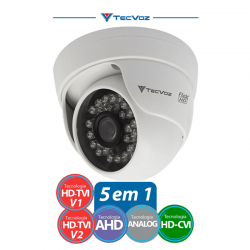 NATAL CFTV CLUBE - Câmera Tecvoz Dome Flex HD CDM-128P Alta Definição (1.0MP | 720p | 2.8mm | Plast)