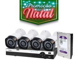 NATAL CFTV CLUBE - Kit Definição Total Intelbras Completo Full HD com 4 Canais e 4 Câmeras Bullet 1080p
