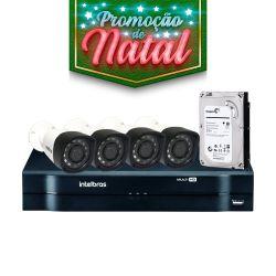 NATAL CFTV CLUBE - Kit Intelbras Completo Alta definição - 4 Câmeras - HD