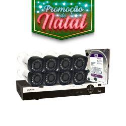 NATAL CFTV CLUBE - Kit Monitoramento Profissional Completo Intelbras Alta Denifição Full HD 8 Canais de Vídeo com 8 Câmeras Full HD 1080p