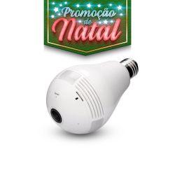 NATAL CFTV CLUBE - Lâmpada de Led Bulbo com Câmera Escondida 360° Wifi