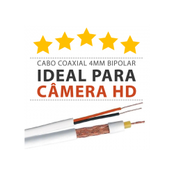 Super Cabo Coaxial para Câmeras HD 4mm Bipolar Reforçado Telecam