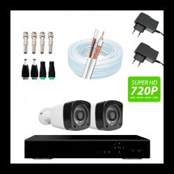 Super kit 2 câmeras bullet, dvr 4 canais, conectores, fontes e cabo