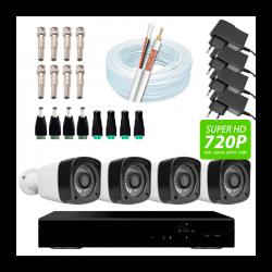 Super kit 4 canais - dvr 4 canais, 4 câmeras bullet, conectores, fontes e cabo