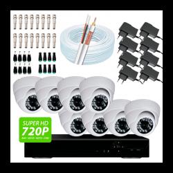 Super kit 8 câmeras dome, dvr 8 canais, conectores, fontes e cabo