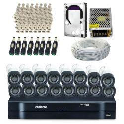 Super Kit Exclusivo Intelbras Completo Alta Definição Edição Especial - 16 Câmeras - 1 Mega HD